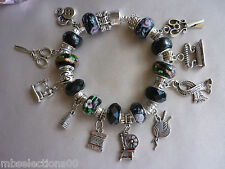 Sewing Craft Knitting Charm Bracelet - spinning wheel, sewing m/c, silk thread