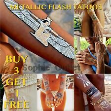 Metallic Tattoo Bracelet  Necklace Black Gold Silver Flash Temporary Tattoo  B3