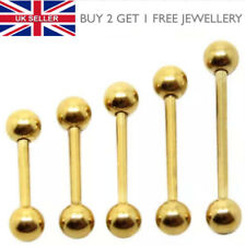 Gold Anodized Plated Tongue Barbell Piercing Nipple Bar Choose Size - UK Seller