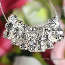 Silver Plated Crystal Rhinestone Wavy Rondelle Spacer Beads 4mm,6mm,8mm,10mm