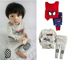 Cartoon Spider-man Cars Baby Kids Boys Nightwear Sleepwear Pajamas 2pcs Set 1-7Y