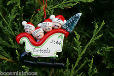 Personalised Family Christmas/Xmas Tree Decoration - Sleigh family 3 4 5