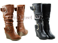 Womens Tall Knee High Buckle Riding Fux Leather Black Big Size Wedge Heels Boots