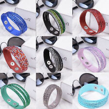 New Crystal Beads Braided Bracelet Leather Wrap Bracelet Cuff Wristband Charms