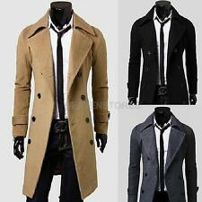 Men Wool Coat Winter Double Breasted Peacoat Trench Overcoat Long Jacket Outwear