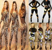 NEW Womens Mesh Hollow Sexy Leopard Romper Club Party Jumpsuit Bodycon Catsuits
