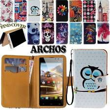 Folio Flip Leather Stand Card Wallet Cover Case Fit ARCHOS 40 45 50 53 Phones