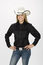 Women's New Retro Roper Western Cowboy Rodeo Cowgirl Shirt Black