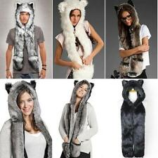 Leisure Hat Faux Fur Hoodie Hat Beanie Scarf Long Paw Warm  Gloves with Pockets