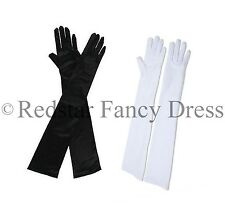 BURLESQUE LONG OPERA GLOVES CHARLESTON PARTY PROM EVENING BLACK WHITE RED