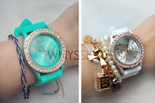 Women Wrist Watch Hot Ladies Bling Crystal Stone Quartz Geneva Silicone Fashion