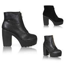 NEW WOMENS LADIES PLATFORM CLEATED SOLE CHUNKY BLOCK HEEL ANKLE BOOTS SIZE 3-8