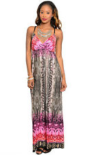 Designer Women's Abstract Snake Print Pink Maxi Dress by Gilli