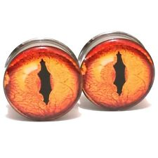 Stainless Steel Ear Plugs Double Flared Ear Gauges Flesh Tunnels - Reptile Eye