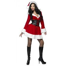 Hooded Santa Sexy Miss Ms Mrs Claus Mini Dress Christmas Fancy Dress Costume