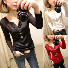 Black Women's Sexy V-neck Long Sleeve Slim fit Lace Tops Shirt Blouse