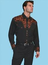 Mens Blend Snap Floral Tooled Embroidery  Western Cowboy Rodeo Shirt Black
