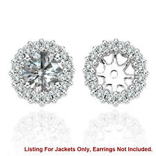White SI2 Diamond Halo Solitaire Stud Bridal Earrings Jackets 14K White Gold