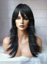 LARGE FIT Razor Layers Long Feathered Tips Skin Centre Part  U Choose Colour Wig