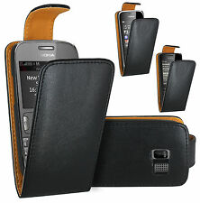 Black Leather Case Pouch Cover For Nokia Asha 200 201 206 300 301 302 306 308