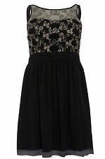 Womens Plus Size Black Gold Sequin Embellished Sleeveless Party Skater Dress