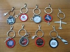 New 50 Shades of Grey Themed Key Chain Holder Bottlecap w/Charm & Claw Clasp