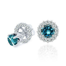 1 Carat Blue Diamond Solitaire Stud Pair Earrings Halo Jackets 14K White Gold