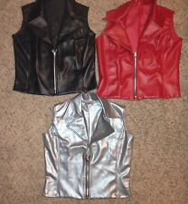 Marcea Dance Jazz Ballroom Hip Hop Black Red Pleather Costume Vest Jacket Mens M