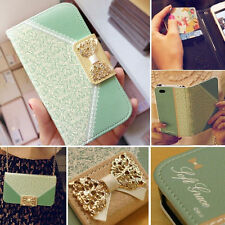 New Lace Handbag PU Leather Chain Wallet Purse Cover Stand Skin Case For Samsung