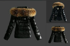 New Warm Women Winter Outerwear Black Ladies Faux Fur Parka Hooded Jacket Coat