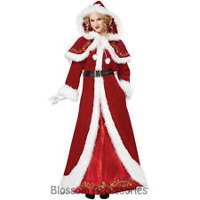 CL214 Deluxe Mrs Claus Santa Claus Christmas Long Dress Costume Xmas Outfit