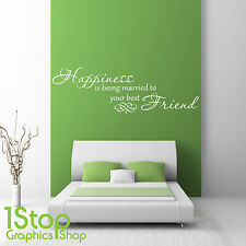 HAPPINESS IS BEING MARRIED WALL STICKER QUOTE - BEDROOM HOME WALL ART DECAL X186