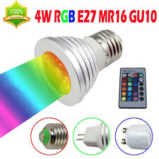 Energy Saving MR16 GU10 E27 4W RGB LED Spotlight Ceiling Party Light Telecommand