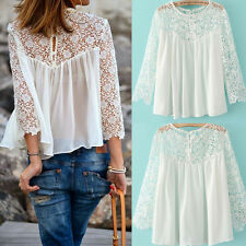 New 3/4 sleeve Women Casual Lace Shirts Chiffon Hollow Blouses T-Shirt Top White