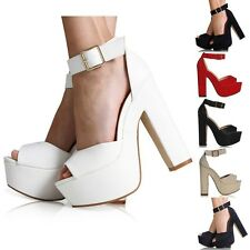 LADIES WOMENS ANKLE STRAP PLATFORM CHUNKY HIGH HEEL SANDALS SHOES SIZE 3-8
