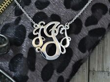 Monogram Style Necklace Script Letter Initial Pendant Necklace in Silver