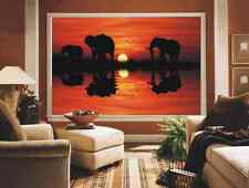 BLACKOUT PHOTO ROLLER BLINDS, PICTURE BLINDS ELEPHANTS IN SUNSET