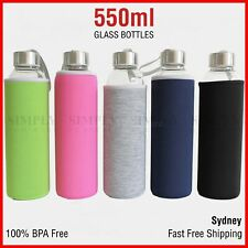 550ml Glass Water Bottle Bottles BPA Free Drinking Sleeve + 1 Free Bottle Brush