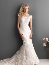 Ivory White Off shoulder Lace Mermaid bridal Wedding gown fishtail Wedding Dress