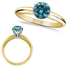 1.25 Carat Blue Round Diamond Solitaire Engagement Wedding Ring 14K Yellow Gold