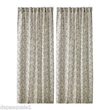 IKEA RYSSBY - Curtains Natural Black Linen Cotton Assorted Patterns 57 x 118 ""