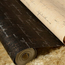 10M Vintage Black/Beige Pub Wallpaper Fashion English Letters Roll Wall Paper