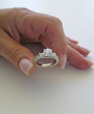 2.60ct Round Lab Created Diamond 925 Sterling Silver Engagement Ring Free SZ J-Z