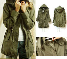 HOT Womens Hoodie Drawstring Army Green Military Trench Parka Jacket Coat Jumper
