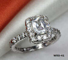 ANTIQUE VINTAGE CZ 925 STERLING SILVER HALO SINGLE ENGAGEMENT RING WEDDING RING