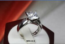 HYPOALLERGENIC PRINCESS CUT CATHEDRAL SET CZ VINTAGE BRIDAL ENGAGEMENT RING