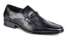 Mens Metal Trim Black Slip On Shoes Casual Leather Lined Formal Smart Shoes Size
