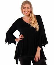 NEW Black Shark Hem Flounce Slv Tunic Top Shirt Gothic 4X 5X 6X  Womens PLUS