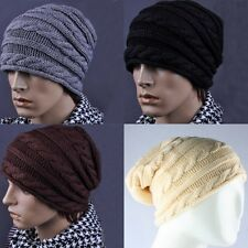 Man's Knitted Beanie Crochet Slouch Winter Warm Ski Caps Hat Black Grey