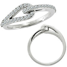 0.37 G-H Diamond Love Knot Women Wedding Anniversary Bridal Ring 14K White Gold